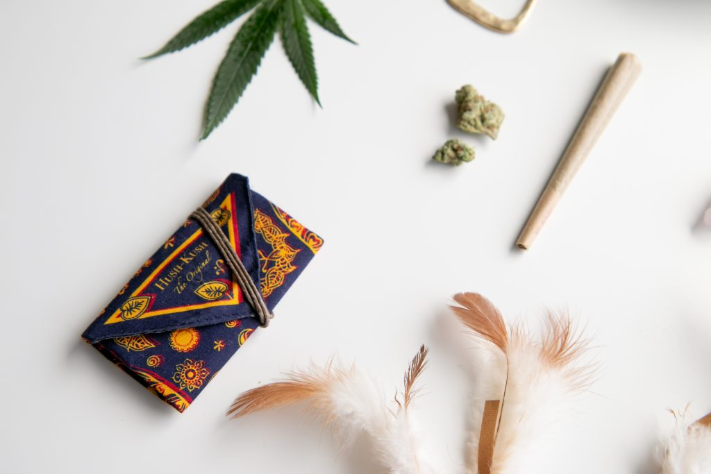 A hush-kush pouch representing cheap cannabis gift ideas