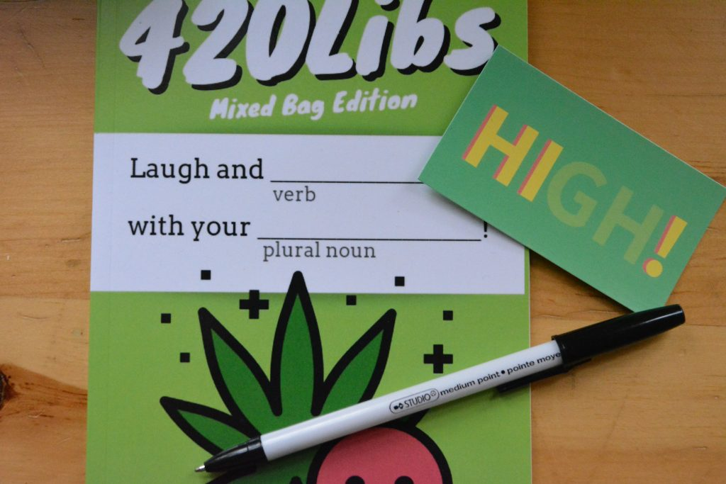 420Libs cannabis book on display with The High Blog business card