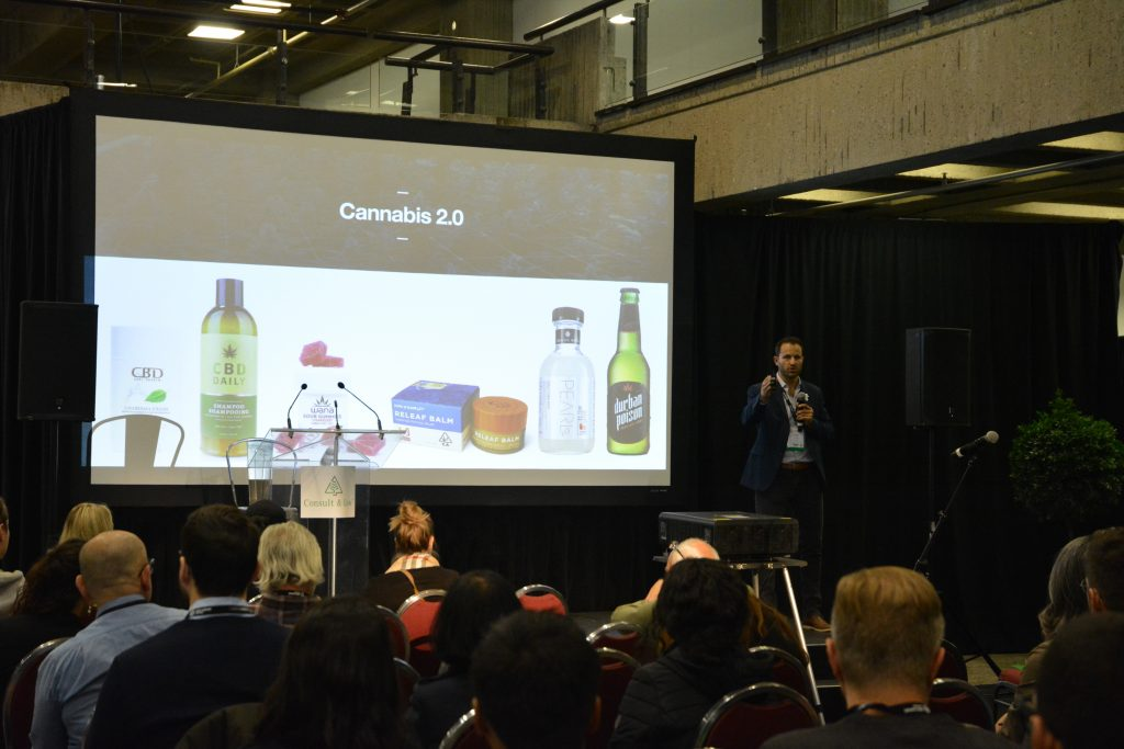 A presentation stage at the Montreal Cannabis Expo