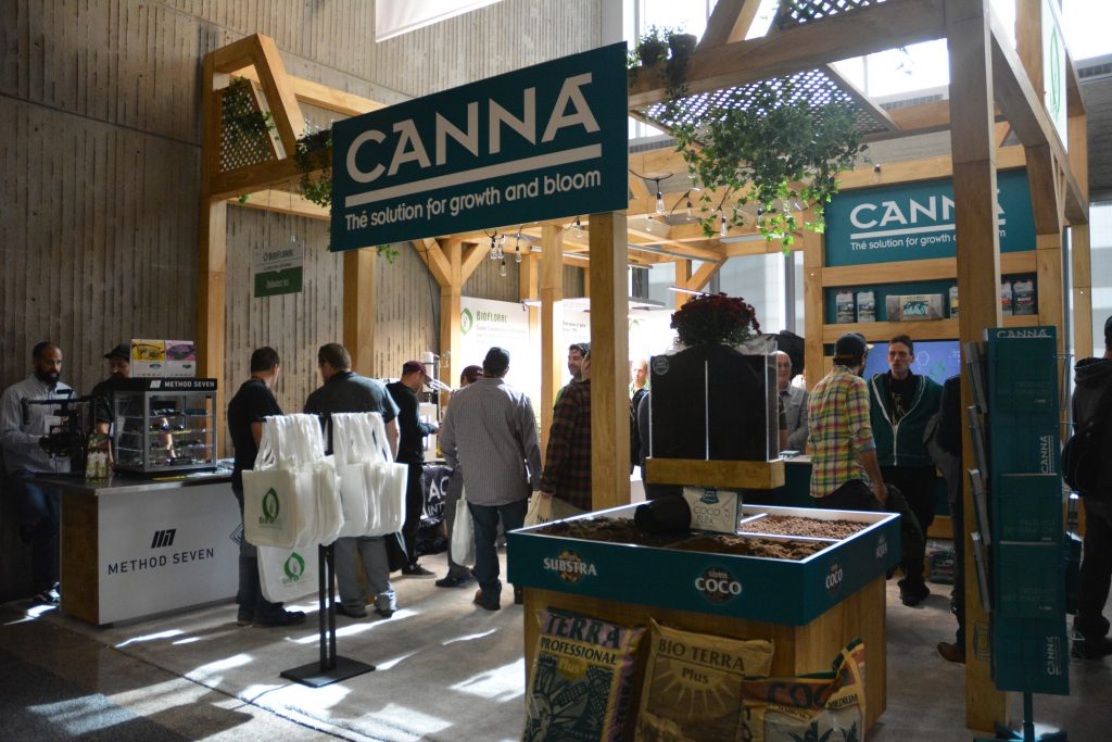 A growing booth at the Montreal Cannabis Expo