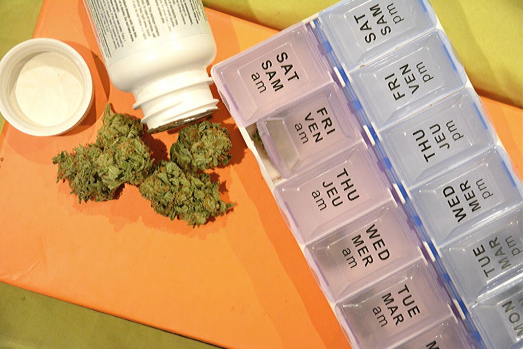 cannabis and pill organizer for using cannabis for add