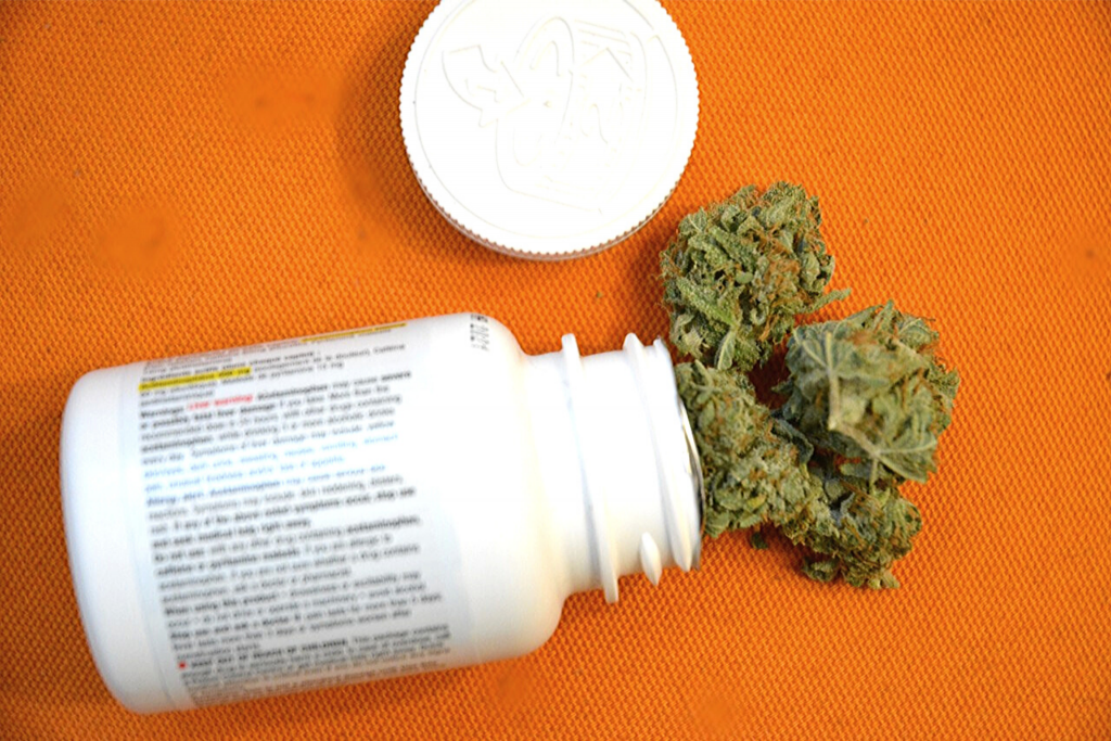 a picture of cannabis in a pill bottle representing cannabis for add